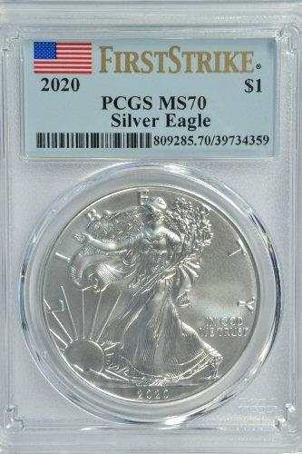 FLAWLESS PCGS MS70 GRADED FIRST STRIKE 2020 $1 SILVER EAGLE COIN