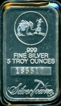 CAMEO PROOFLIKE FINISH SILVERTOWNE 5 TROY OZ PURE SILVER BAR IN PLASTIC