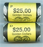 TWO ROLLS OF 2006 GOLDEN SACAGAWEA DOLLARS