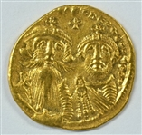 LOVELY MINT STATE BYZANTINE GOLD SOLIDUS OF HERAKLIOS, 610-641 AD