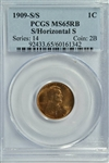 VERY SCARCE GEM BU 1909-S (S over HORIZONTAL S) LINCOLN CENT. PCGS MS65RB