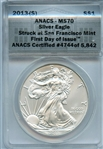 GEM FLAWLESS FIRST DAY OF ISSUE 2013 S $1 SILVER EAGLE