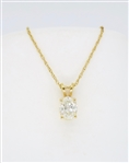 OVAL DIAMOND SOLITAIRE PENDANT NECKLACE