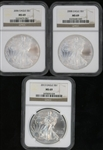 3 DIFFERENT NEARLY FLAWLESS $1 SILVER EAGLES: 2006, 2008, & 2013