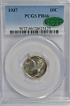 SUPER GEM PROOF 1937 MERCURY DIME PCGS PR66 CAC STICKER