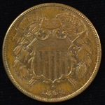 RARE NEAR MINT 1864 SMALL MOTTO TWO CENT PIECE. NICE