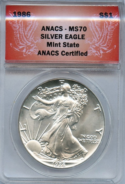 FLAWLESS FIRST YEAR 1986 SILVER EAGLE MS70