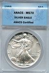 VERY SCARCE 1988 FLAWLESS SILVER EAGLE MS70
