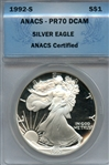 FLAWLESS PROOF 1992 S SILVER EAGLE MS70 DCAM