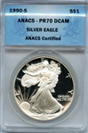 STRIKINGLY FLAWLESS 1990 S SILVER EAGLE PROOF PR70 DCAM