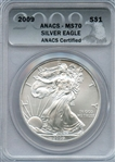GORGEOUS FLAWLESS 2009 SILVER EAGLE MS70