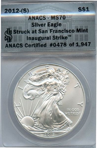 FLAWLESS 2012 S SILVER EAGLE INAUGURAL STRIKE MS70