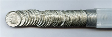 TUBE OF 50 BRILLIANT UNCIRCULATED 1952 D ROOSEVELT DIMES