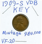 RARE LOW MINTAGE KEY DATE 1909-S VDB LINCOLN CENT