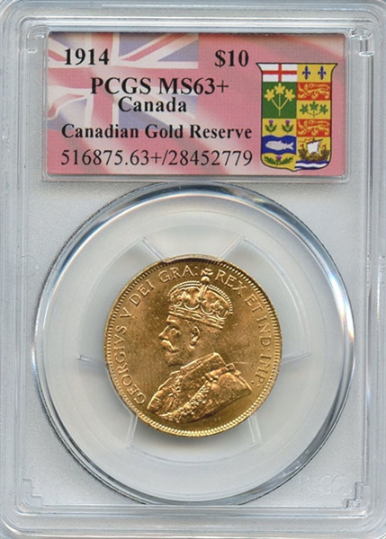 GORGEOUS CHOICE BRILLIANT UNCIRCULATED 1914 CANADIAN $10  GOLD COIN MS63+