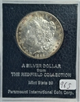 FULLY STRUCK SOLID BU RARE 1896-S MORGAN SILVER DOLLAR. MS60 FROM THE REDFIELD COLLECTION