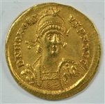 VERY SCARCE NEAR MINT EMPEROR HONORIUS ROMAN GOLD SOLIDUS, 395-423 AD