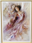 BENFIELD *** PURPLE SHAWL *** SIGNED SERIOLITHOGRAPH WITH GOLD LEAF