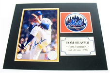HAND SIGNED TOM SEAVER 4X6 IN AN 8X10 MATTED DISPLAY