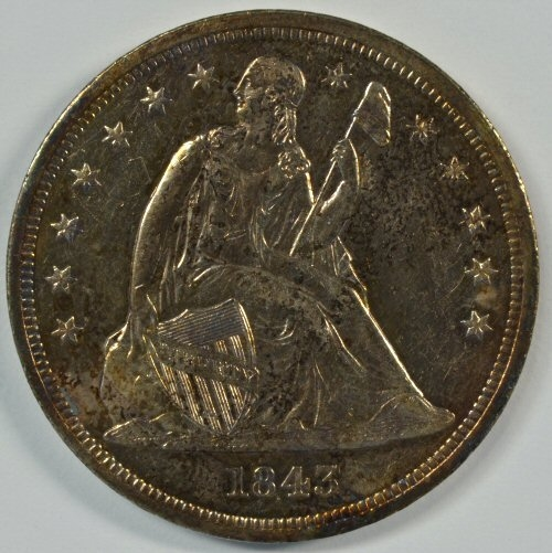 VERY SCARCE REFLECTIVE NEAR MINT 1843 NO MOTTO LIBERTY SEATED SILVER DOLLAR