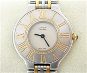 CARTIER LADIES MUST DE 21 WATCH, 18K AND STAINLESS