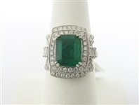 PLATINUM EMERALD AND DIAMOND RING 3.97 C.T.W.