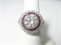 PLATINUM DIAMOND AND RUBY RING 5.41 C.T.W.