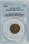 NEARLY BU 1955 DOUBLE DIE OBVERSE LINCOLN CENT. PCGS AU58