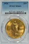 SUPERB PCGS MS64+ GRADED 1924 ST. GAUDENS $20 GOLD PIECE