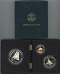 SPECIAL 1995 CIVIL WAR 3-PIECE PROOF SET WITH 1995-W $5 GOLD. ORIGINAL BOX