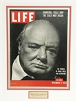 WINSTON CHURCHILL LIFE MAGAZINE COVER AND HAND SIGNED AUTOGRAPH SIGNATURE