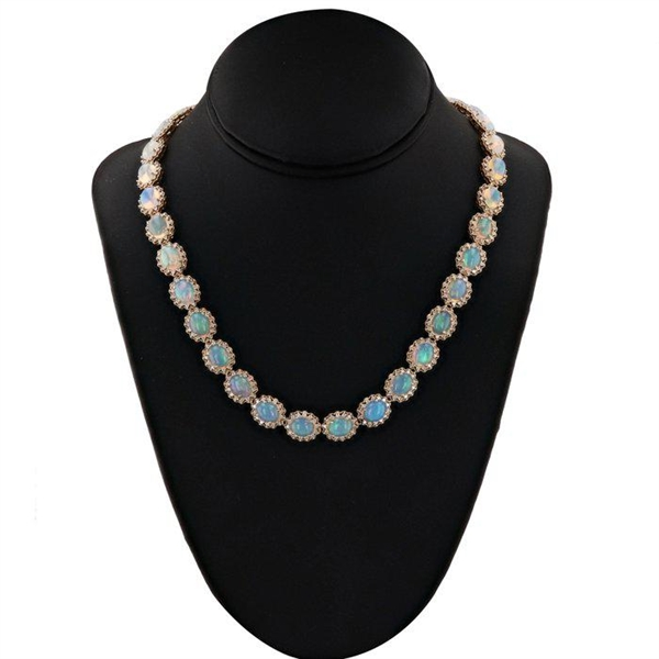 14K OPAL AND DIAMOND NECKLACE 44.09 C.T.W.
