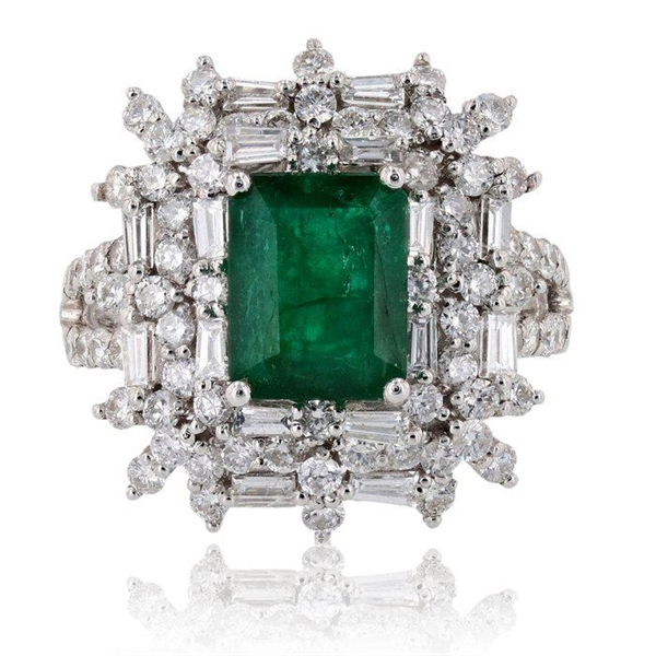 PLATINUM EMERALD AND DIAMOND RING 4.55 C.T.W.