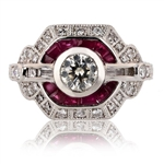 PLATINUM DIAMOND AND RUBY RING 2.16 C.T.W.