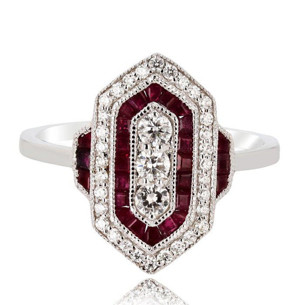 14K DIAMOND AND RUBY RING 0.99 C.T.W.