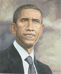 WAKEFIELD *** PRESIDENT BARACK OBAMA *** SIGNED ORIGINAL OIL PAINTING