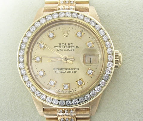 ROLEX LADIES 18K PRESIDENT WITH DIAMOND BEZEL, DIAL, AND BAND