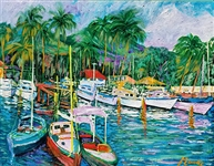 MANOR SHADIAN ** TROPICAL MARINA ** SIGNED ON CANVAS