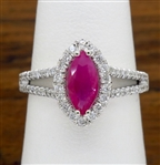 MARQUISE RUBY & DIAMOND HALO RING MADE IN 14K WHITE GOLD