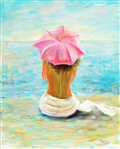 OKSANA GRINEVA *** PINK UMBRELLA *** SIGNED ORIGINAL OIL