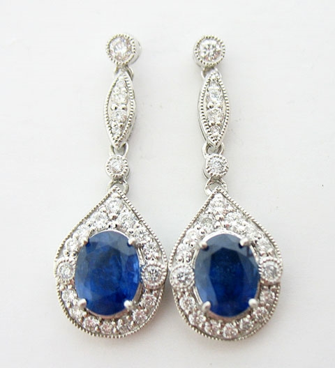 PLATINUM BLUE SAPPHIRE AND DIAMOND EARRINGS 4.85 C.T.W.