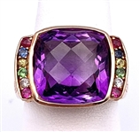 14K ROSE GOLD AMETHYST AND MULTI-COLOR GEMSTONE RING