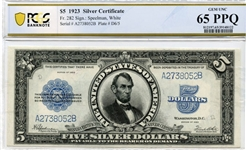 "RARE GEM UNCIRCULATED 1923 $5 ""PORT HOLE"" SILVER CERTIFICATE"