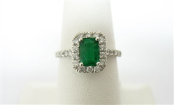 PLATINUM EMERALD AND DIAMOND RING 1.12 C.T.W.