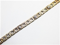 VINTAGE 14K TWO TONE DIAMOND FILIGREE BRACELET