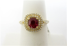 18K RUBY AND DIAMOND RING 1.57 C.T.W.