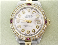 ROLEX LADIES 18K AND STAINLESS DATEJUST WITH DIAMOND & RUBY BEZEL AND DIAMOND DIAL