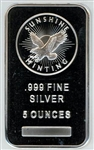 GREAT LOOKING SUNSHINE MINTING 5 TROY OUNCE .999 SILVER BAR