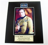 HAND SIGNED WILLIAM SHATNER 5X7 IN A 8X10 MATTED DISPLAY