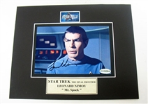 HAND SIGNED LEONARD NIMOY 4X6 IN A 8X10 MATTED DISPLAY